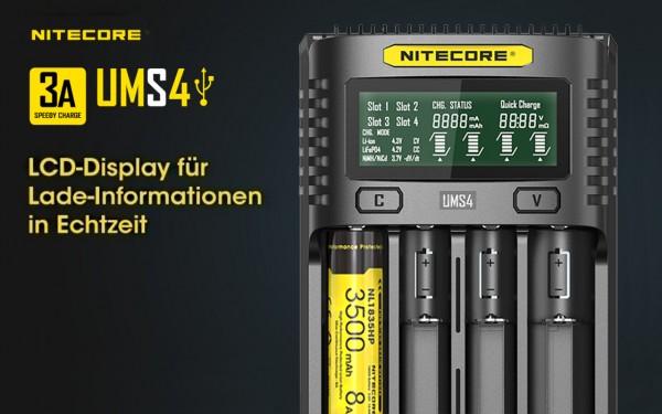 Nitecore UMS4 - intelligentes Ladegerät für Li-Ion, LiFePo4, Ni-MH, Ni-CD Akkus
