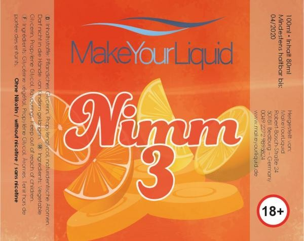 Nimm 3 Liquid Shortfill 80 ml