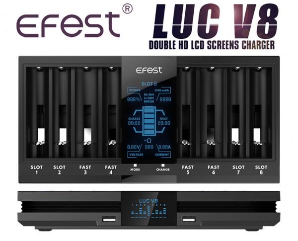Efest LUC V8 Ladegerät mit 8 Schächten 8x/1A 4x/2A