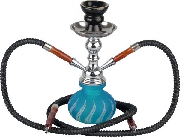 Atum MIni Shisha - Wasserpfeife blau ice Flammendesign 25 cm